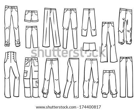 Set Silhouettes Different Types Womens Pants Stock Vector ...