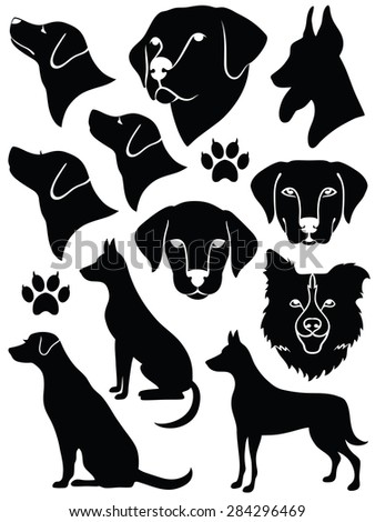 Set of silhouettes of dogs. - stock vector