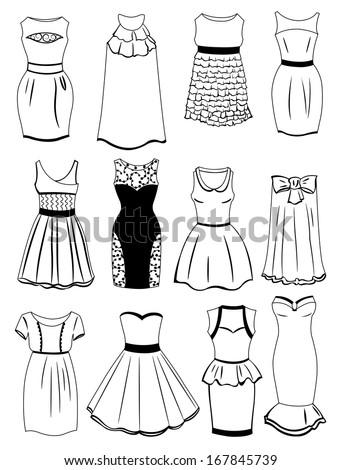 Set of silhouettes of dresses for cocktails isolated on white background - stock vector