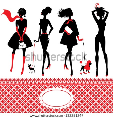 Set of silhouettes of fashionable girls on a white background - stock vector