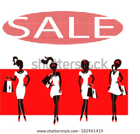 Set of silhouettes of fashionable girls on a white background / Red dresses - stock vector