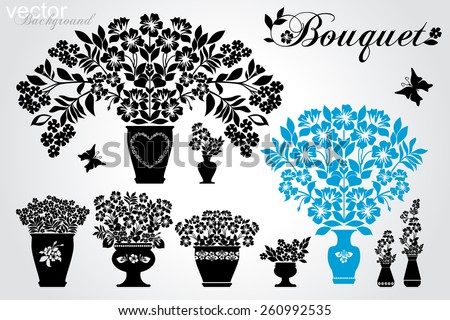Set of silhouettes of flowers in pots and vase. Black and White color. Vector illustration - stock vector