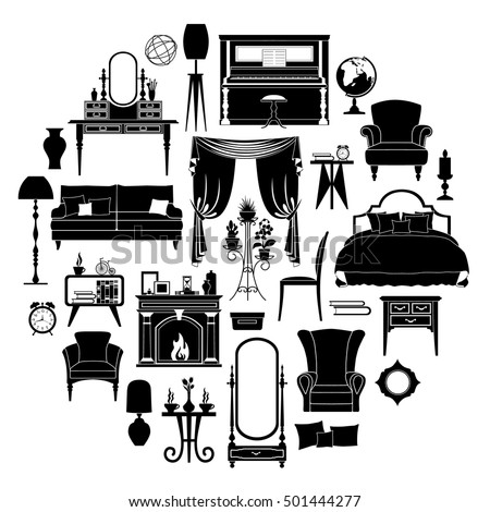 Set Silhouettes Furniture Templates Stencils Your Stock Vector (2018 ...