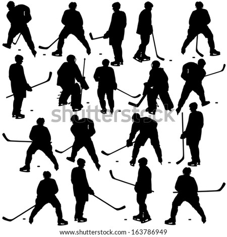 Set of silhouettes of hockey player. Isolated on white. Vector  illustrations. - stock vector