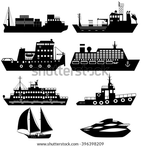 Set of silhouettes of industrial cargo and passenger ships and boats. Vector illustration - stock vector