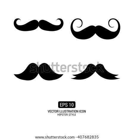 Set of silhouettes of mustaches on a white background with text