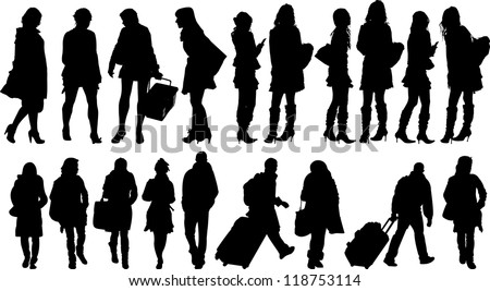 Set of 19 silhouettes of people in action