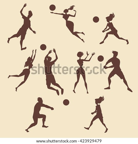 Set of silhouettes of people playing volleyball