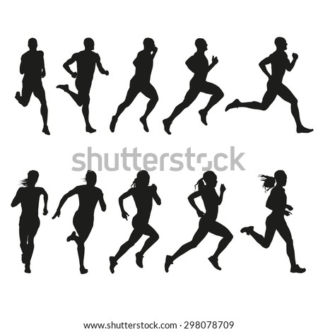 Set of silhouettes of running men and women. Vector, run - stock vector