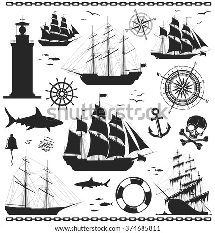 Set of silhouettes of sailing ships with nautical design elements. Compass rose, anchor,  beacon, bell, lighthouse, shark, skull, steering wheel, windrose. No trace. Vector illustration.