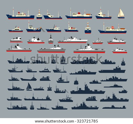 Set of silhouettes of ships, consisting of numerous warships, naval vessels, yachts and cruise ships, ships and pleasure boats for a cruise. - stock vector