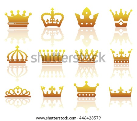 Set of silhouettes of stylized images of the crown - stock vector