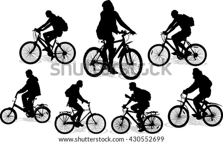 Set of 7 silhouettes of the cyclist