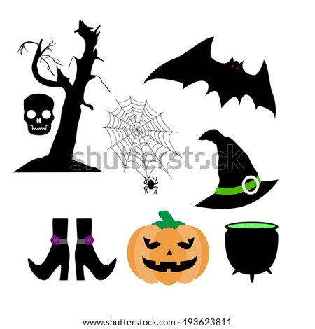 Set of silhouettes: pumpkin, bat, hand drawn tree, skull, spider, cobweb, witches pot, hat, stockings with shoes. Color Halloween vector illustration isolated on white background.