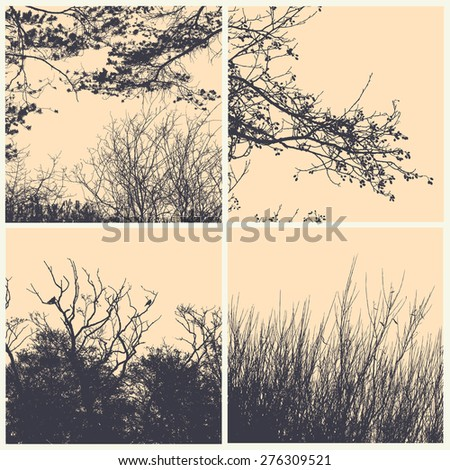 set of silhouettes trees, branches and bush. detailed vector illustration - stock vector