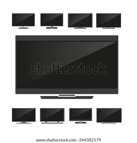 Set of silhouettes TV isolated on white background. Vector illustration - stock vector