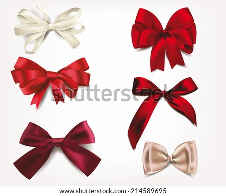 Set of silk bows - stock vector