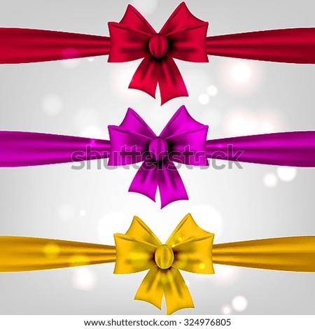 Set of silk bows - stock vector