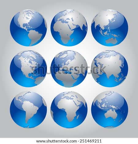 Set of silver and blue Earth in different views of the continents. Modern Globe icon set. Vector design elements - stock vector