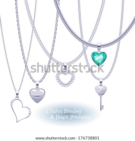 Set of silver chains with heart pendants. Precious necklaces. Good for Valentine's day design. - stock vector