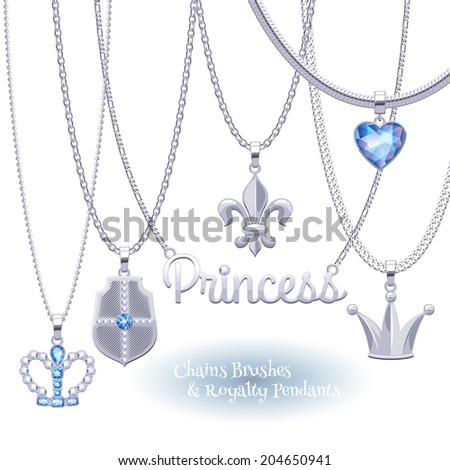 Set of silver chains with royal symbols pendants. Precious necklaces. Include chains brushes. - stock vector