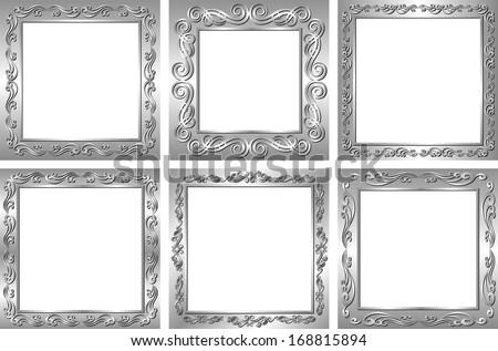 Set Silver Frames Transparent Space Insert Stock Vector 168815894 ...
