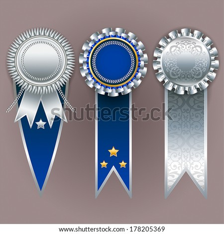 Set of silver, gold and blue badges with ribbons. Vector champion medals.  - stock vector