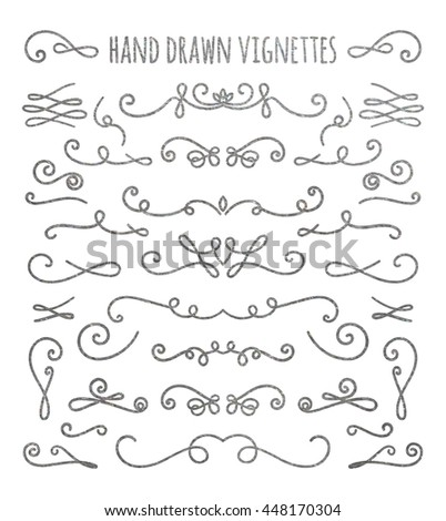 Set Of Silver Textured Hand Drawn Vignettes On White Background Elegant Vintage Calligraphic Borders And