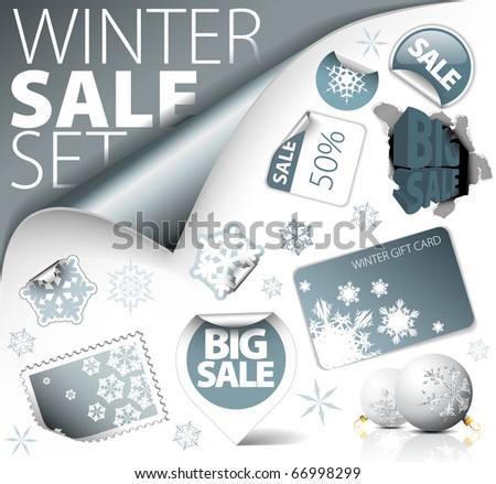 Set of silver winter discount tickets, labels, stamps, stickers, corners, tags (vector) - stock vector