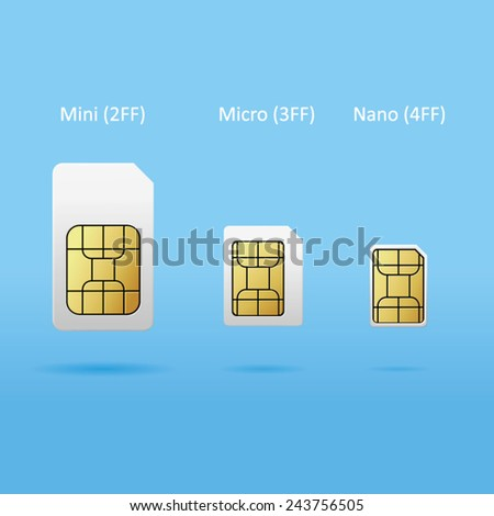 set of sim cards - stock vector