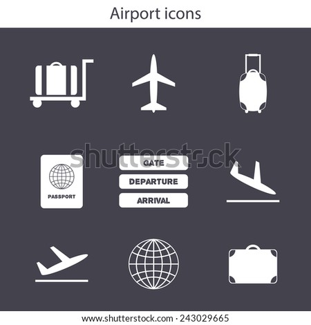 Set of simple airport icons for your design - stock vector