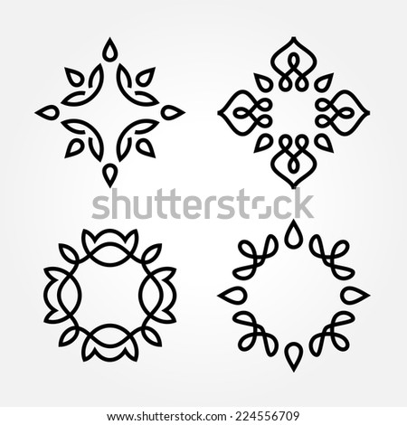 Set of simple and graceful monochrome monogram design templates, Elegant lineart logo design elements, vector illustration - stock vector