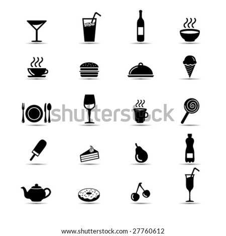 Set of simple black and white food icons - stock vector