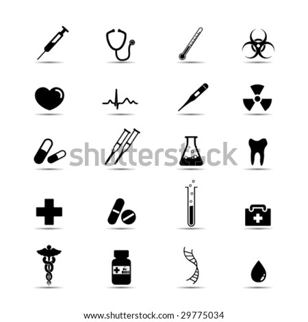 Set of simple black and white medical icons - stock vector