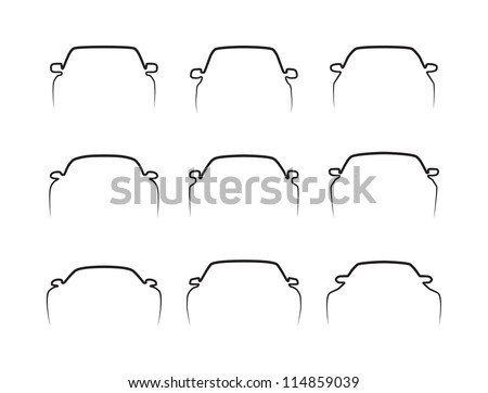 Set of simple black car front contours isolated on white. Vector image. - stock vector