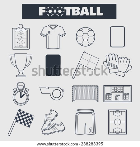 Set of simple blue football thin line icons. Vector illustration of soccer symbols in flat style on the white background - stock vector