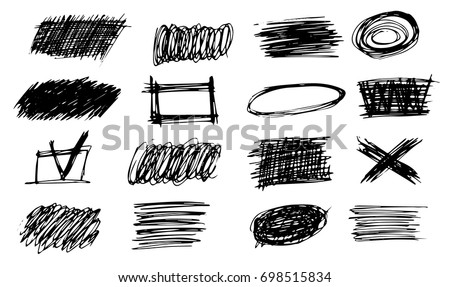 Simple Line Art Designs : Set simple bold hatching doodle lines stock photo vector