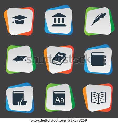 Set Of 9 Simple Books Icons. Can Be Found Such Elements As Book Page, Academic Cap, Academic Cap And Other.