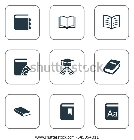 Set Of 9 Simple Books Icons. Can Be Found Such Elements As Notebook, Sketchbook, Journal And Other.