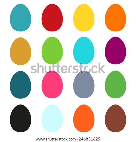 Set of 16 simple colorful Easter eggs - stock vector