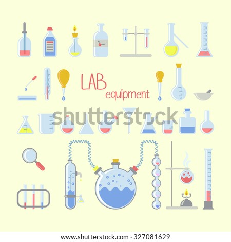 set of simple colorful laboratory equipment - stock vector