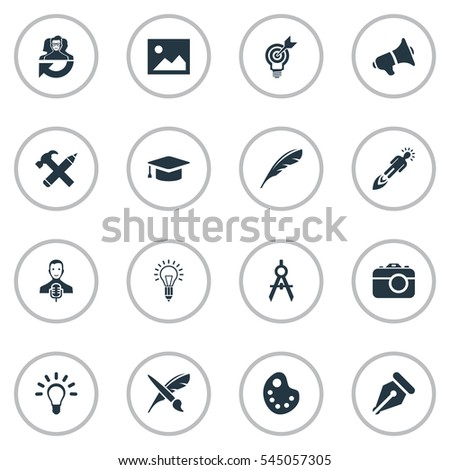 Set Of 16 Simple Creative Thinking Icons. Can Be Found Such Elements As Bullhorn, Dividers, Performance And Other.