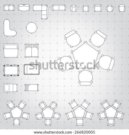 Blueprint Interior Design Set set simple 2d flat vector icons stock vector 367291151  shutterstock