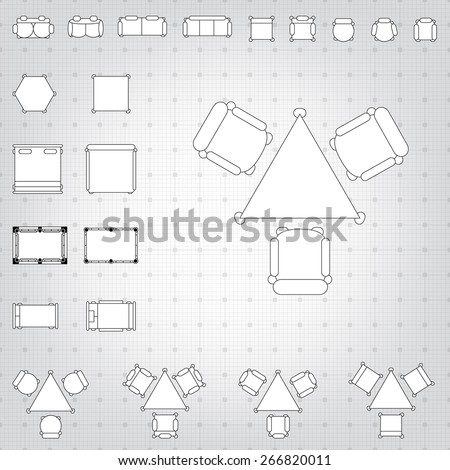 Set simple 2d flat vector icons stock vector 266820011 shutterstock set of simple 2d flat vector icons furniture for floor plan outline on blueprint technical grid malvernweather Choice Image