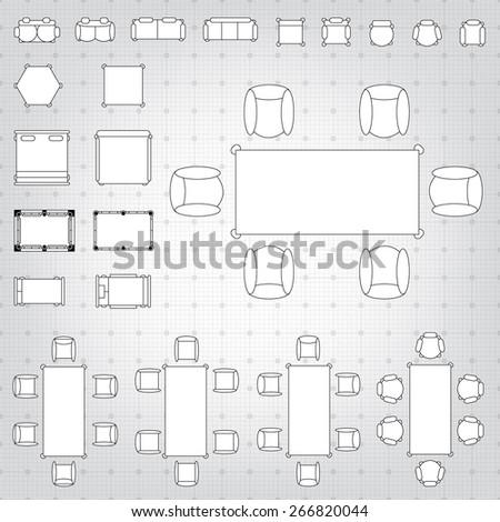 Set simple 2d flat vector icons vectores en stock 266820044 set of simple 2d flat vector icons furniture for floor plan outline on blueprint technical grid malvernweather Choice Image