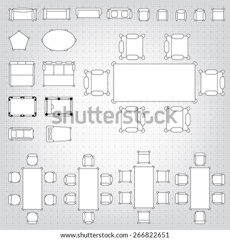 Set simple 2 d flat vector icons stock vector royalty free set of simple 2d flat vector icons furniture for floor plan outline on blueprint technical grid malvernweather Gallery
