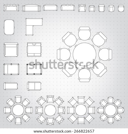 Set simple 2d flat vector icons stock vector 266822657 shutterstock set of simple 2d flat vector icons furniture for floor plan outline on blueprint technical grid malvernweather Choice Image