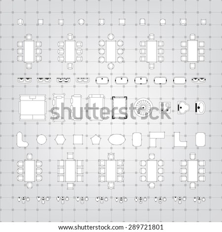 Set simple 2d flat vector icons stock vector 289721801 shutterstock set of simple 2d flat vector icons furniture for floor plan outline on blueprint technical grid malvernweather Choice Image