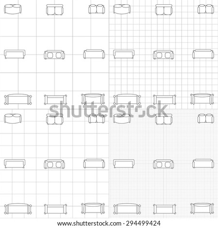 Set simple 2d flat vector icons stock vector 294499424 shutterstock set of simple 2d flat vector icons furniture for floor plan outline on blueprint technical grid malvernweather Choice Image