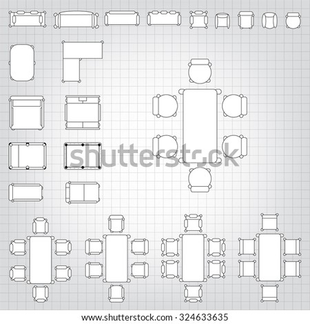 Set Of Simple 2d Flat Vector Icons Furniture For Floor Plan Outline On  Blueprint Technical Grid